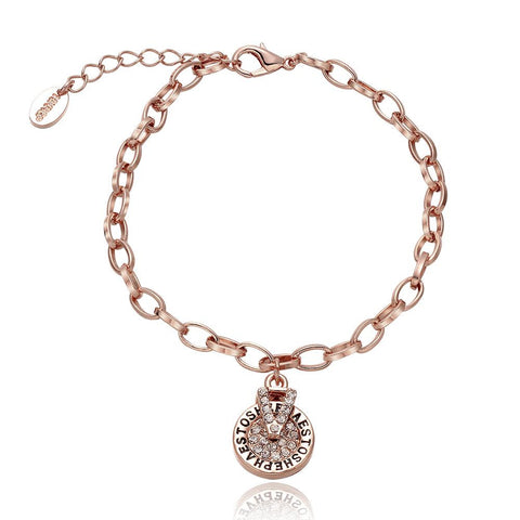 18K Rose Gold Circular Emblem Bracelet with Swarovski Elements - rubiquejewelry.com