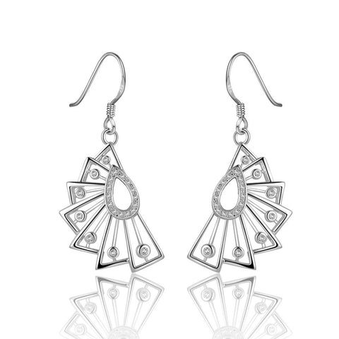 Sterling Silver Swirl Abstract Curved Drop Earring - rubiquejewelry.com