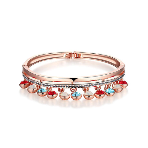 18K Rose Gold Bangle with Dropdown Gems & Beads with Swarovski Elements - rubiquejewelry.com