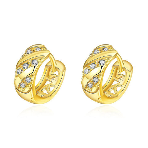Gold Plated Mini Jewels Encrusted Hoop Earrings - rubiquejewelry.com