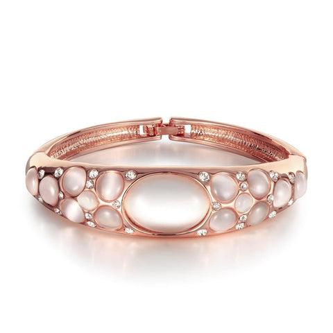 18K Rose Gold Bangle with Ivory Gems Inlay with Swarovski Elements - rubiquejewelry.com