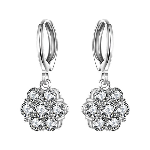 Sterling Silver Stones Clover Shaped Drop Earring - rubiquejewelry.com