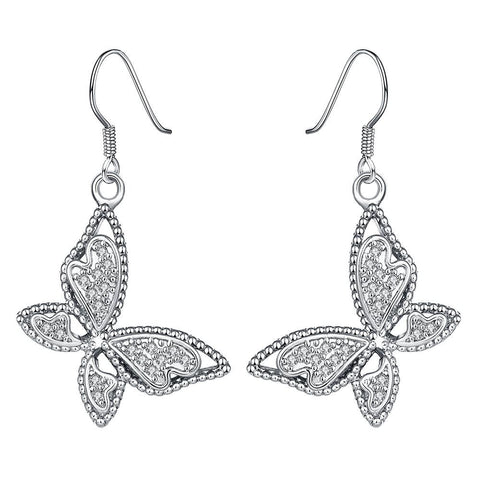 White Gold Plated Butterflies Drop Down Earrings - rubiquejewelry.com