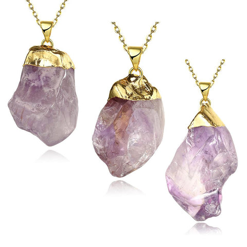 Amethyst Moder Natural Crystal Necklace - rubiquejewelry.com