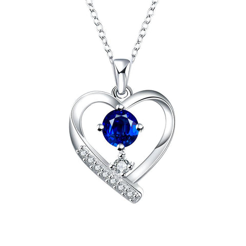 Tiffany Inspired Mock Sapphire Hollow Hearts Necklace - rubiquejewelry.com