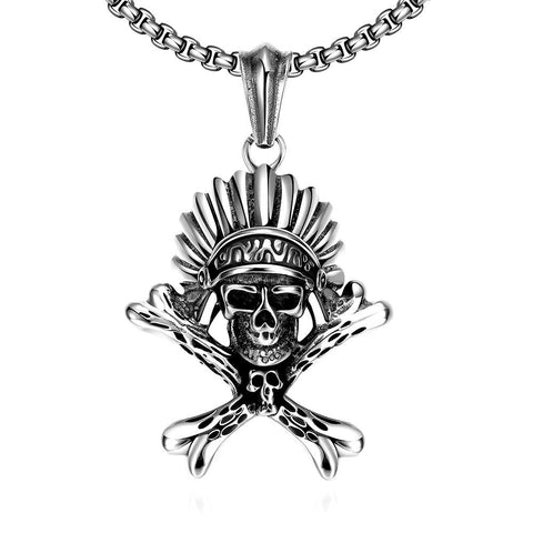 Chief Skull Emblem Stainless Steel Necklace - rubiquejewelry.com