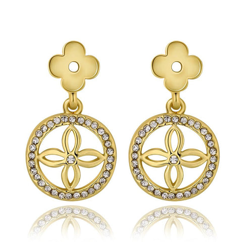 18K Gold Petite Cross Drop Down Earrings Made with Swarovksi Elements - rubiquejewelry.com