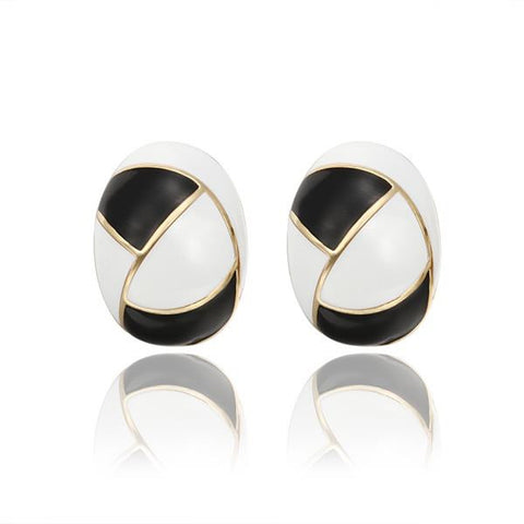 18K Gold Inline Acorn Shaped Onyx & Ivory Stud Earrings Made with Swarovksi Elements - rubiquejewelry.com