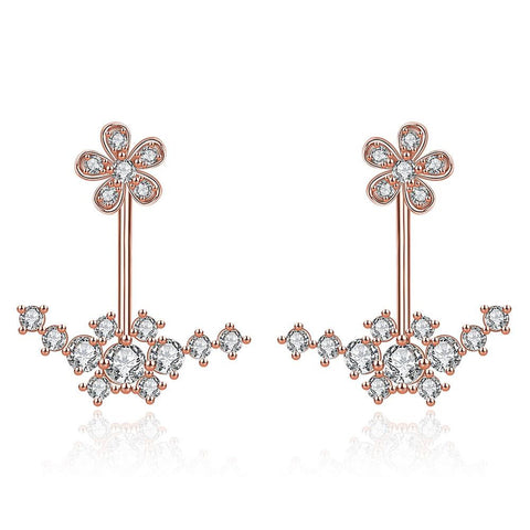 Rose Gold Plated Thin Lay Ear Jackets - rubiquejewelry.com