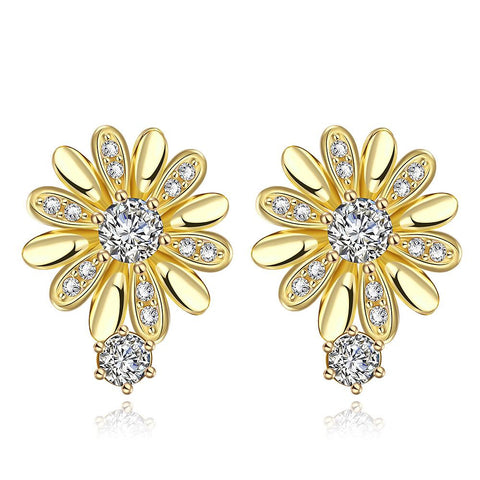 Gold Plated Floral Petal Stud Earrings - rubiquejewelry.com
