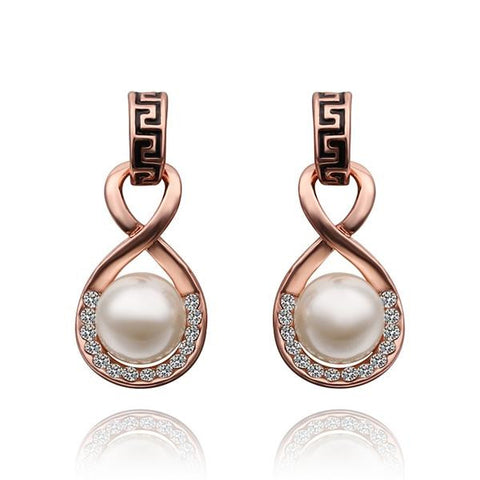 18K Rose Gold Drop Down Earring with Pearl Center Made with Swarovksi Elements - rubiquejewelry.com
