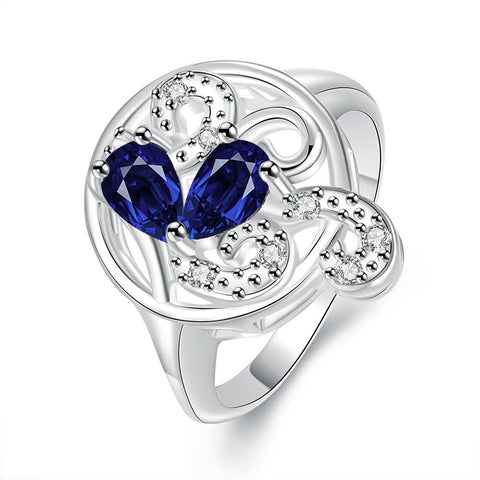 Duo-Mock Sapphire Crystal Swirl Design Petite Ring - rubiquejewelry.com