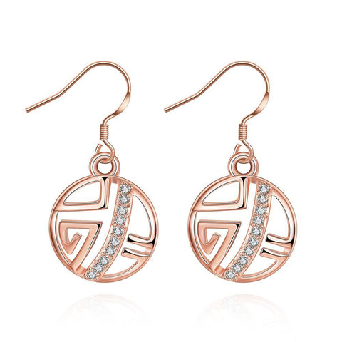 Rose Gold Plated Laser Cut Circular Artistic Drop Down Earrings - rubiquejewelry.com