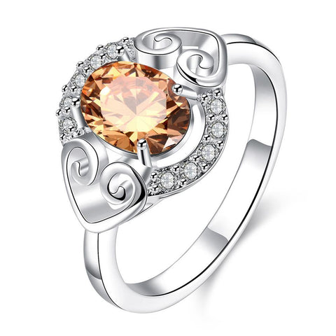 Petite Orange Citrine Duo Hearts Laser Cut Ring - rubiquejewelry.com