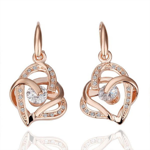 18K Rose Gold Double Hearts Earrings Made with Swarovksi Elements - rubiquejewelry.com