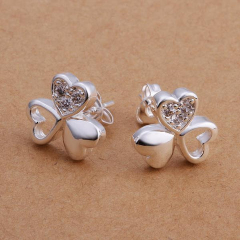 Sterling Silver Trio-Hearts Clover Stud Earring - rubiquejewelry.com