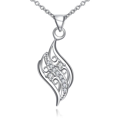 Crystal Jewels Spiral Curved Emblem Necklace - rubiquejewelry.com