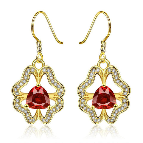 18K Gold Abstract Drop Down Earrings with Ruby Centerpiece Made with Swarovksi Elements - rubiquejewelry.com