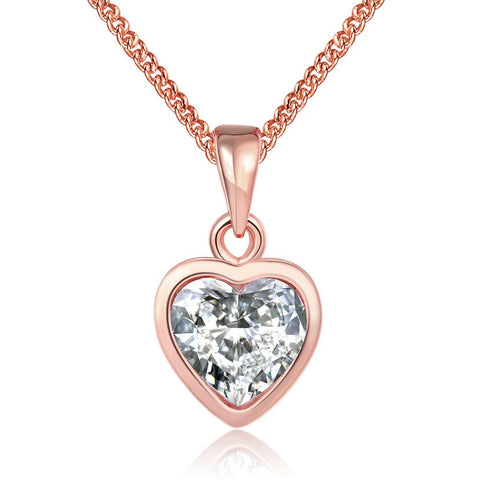 18K Rose Gold Plated Pure White HeartNecklace by Rubique Jewelry