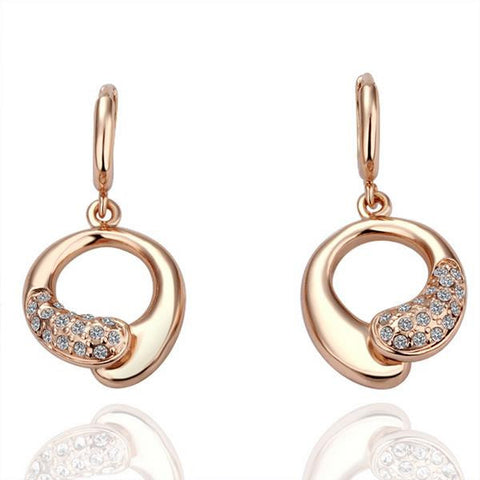 18K Gold Circular Earrings with Jewels Made with Swarovksi Elements - rubiquejewelry.com