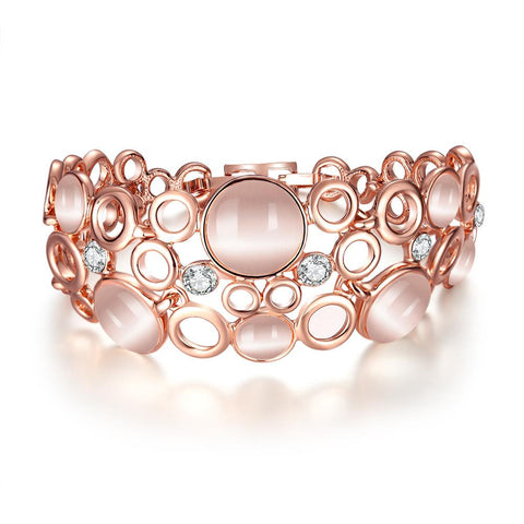 18K Rose Gold Bangle Covered with Coral Natural Gemstones with Swarovski Elements - rubiquejewelry.com