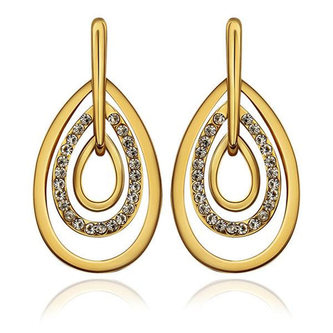 18K Gold Abstract Artistic Drop Down Earrings Made with Swarovksi Elements - rubiquejewelry.com