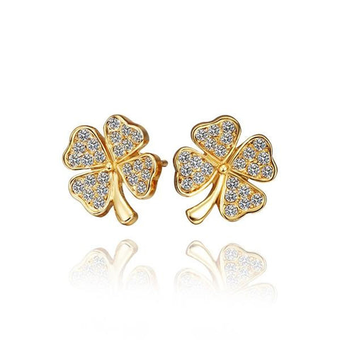 18K Gold Mini Clover Stud Earrings Made with Swarovksi Elements - rubiquejewelry.com