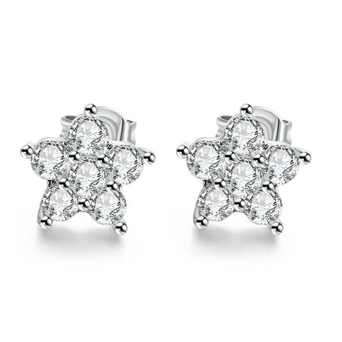 18K White Gold Plated Flower Studded Earrings - rubiquejewelry.com
