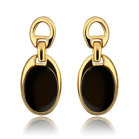 18K Gold Studs with Onyx Covering Made with Swarovksi Elements - rubiquejewelry.com