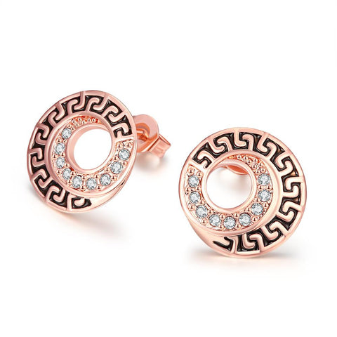 18K Rose Gold Plated Medallion Stud Earring - rubiquejewelry.com
