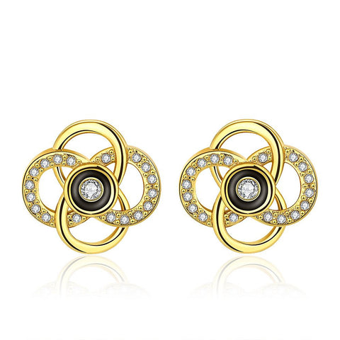 18K Gold Spiral Hollow Stud Earrings Made with Swarovksi Elements - rubiquejewelry.com