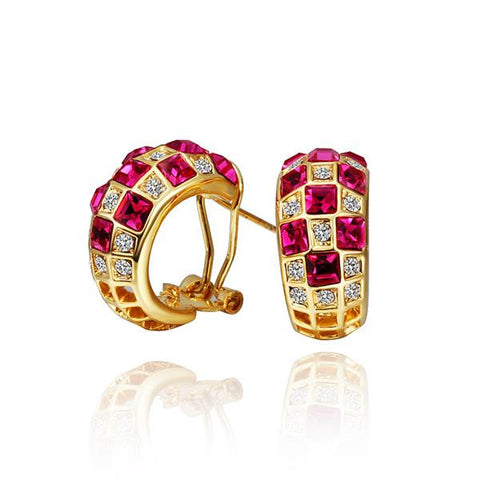 18K Gold Ruby Crystals 1/2 Hoop Earrings Made with Swarovksi Elements - rubiquejewelry.com