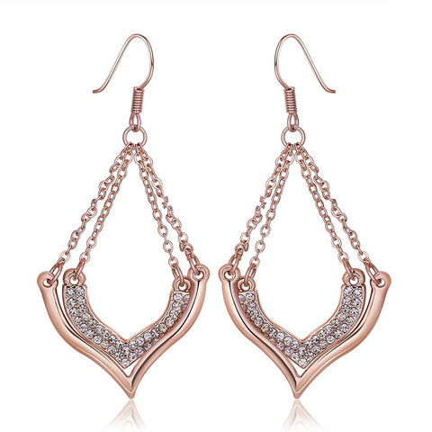 18K Rose Gold Changelier Style Drop Down Earrings Made with Swarovksi Elements - rubiquejewelry.com