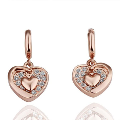 18K Gold Classic Heart Shaped Drop Down Earrings Made with Swarovksi Elements - rubiquejewelry.com