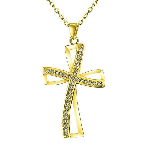 Gold Plated Modern Twist to the Cross Necklace - rubiquejewelry.com