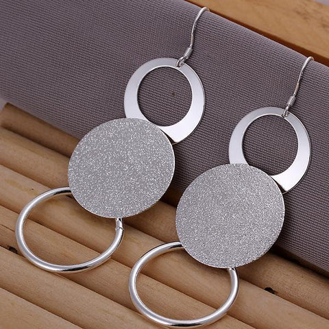 Sterling Silver Trio-Circular Drop Earring - rubiquejewelry.com