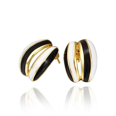 18K Gold Ivory Inline Stud Earrings Made with Swarovksi Elements - rubiquejewelry.com