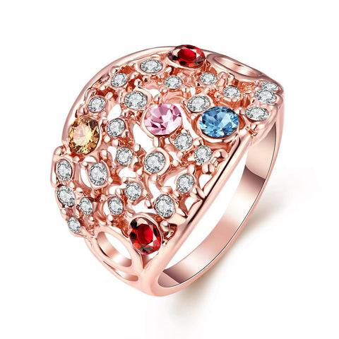 Rose Gold Plated Rainbow Multi-Color Ring - rubiquejewelry.com