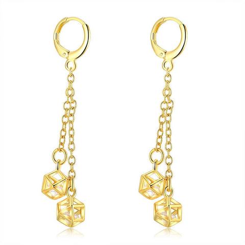 Gold Plated Snowflake Drops Dangling Earrings - rubiquejewelry.com