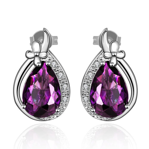 Purple Citrine Classical Jewels Drop Earrings made with Swarovski Elements - rubiquejewelry.com