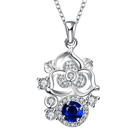 Blossoming Spiral Floral Sapphire Gem Necklace - rubiquejewelry.com
