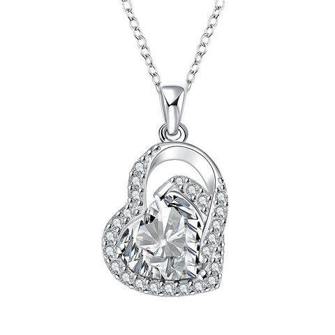 Crystal Heart Shaped Jewels Covering Drop Necklace - rubiquejewelry.com
