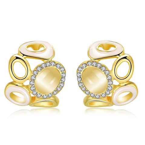 18K Gold Simple Artistic Design Stud Earrings Made with Swarovksi Elements - rubiquejewelry.com