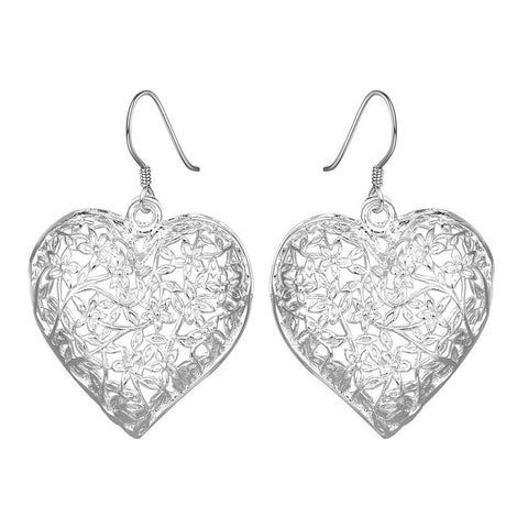 Sterling Silver Filigree Heart Shaped Earring - rubiquejewelry.com