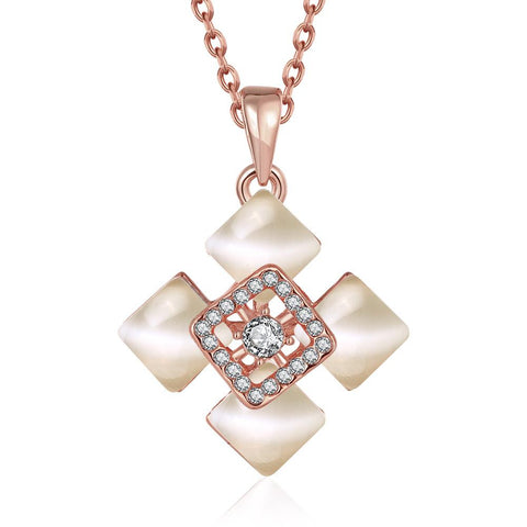 Rose Gold Plated Quad Diamond Ivory Necklace - rubiquejewelry.com