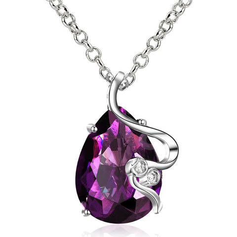 Purple Citrine Gem Curved Lining Necklace made with Swarovski Elements - rubiquejewelry.com