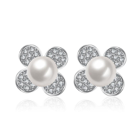 Cultured Pearl Classic Clover Stud Earrings - rubiquejewelry.com