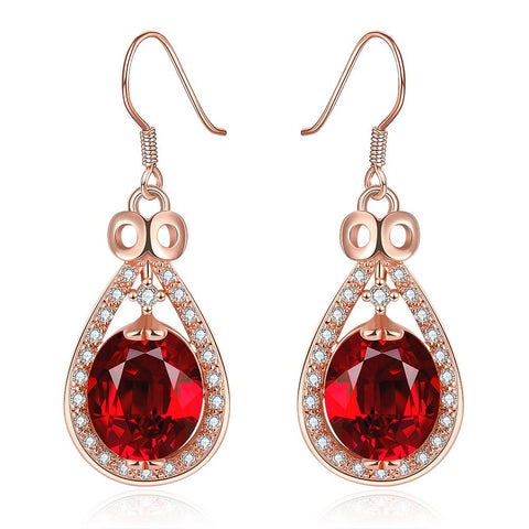 18K Rose Gold Drop Down Earrings with Ruby Gem Made with Swarovksi Elements - rubiquejewelry.com