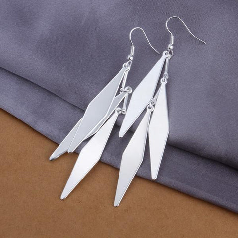 Sterling Silver Drop Diamond Shaped Earring - rubiquejewelry.com