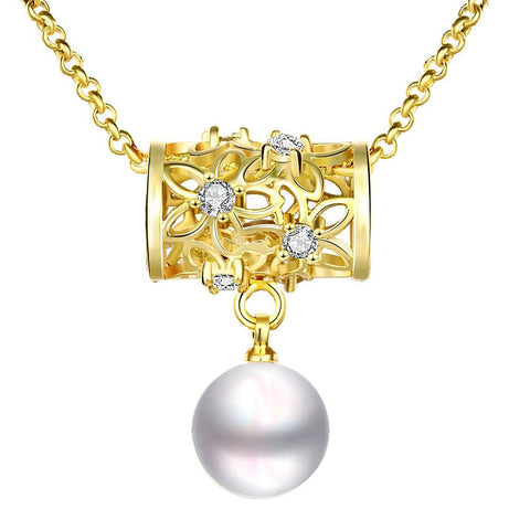 Gold Plated Circular Rolling Pin Cultured Pearl Drop Necklace - rubiquejewelry.com